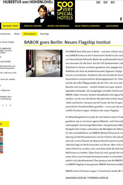 20151029 500 VERY SPECIAL HOTELS BABOR Flagship Berlin